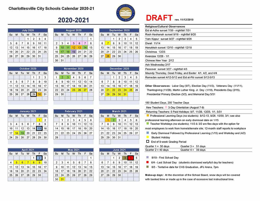 Charlottesville Schools | Charlottesville City Schools | Page 3 In 2021 Calendar For Bowing Green City Schools