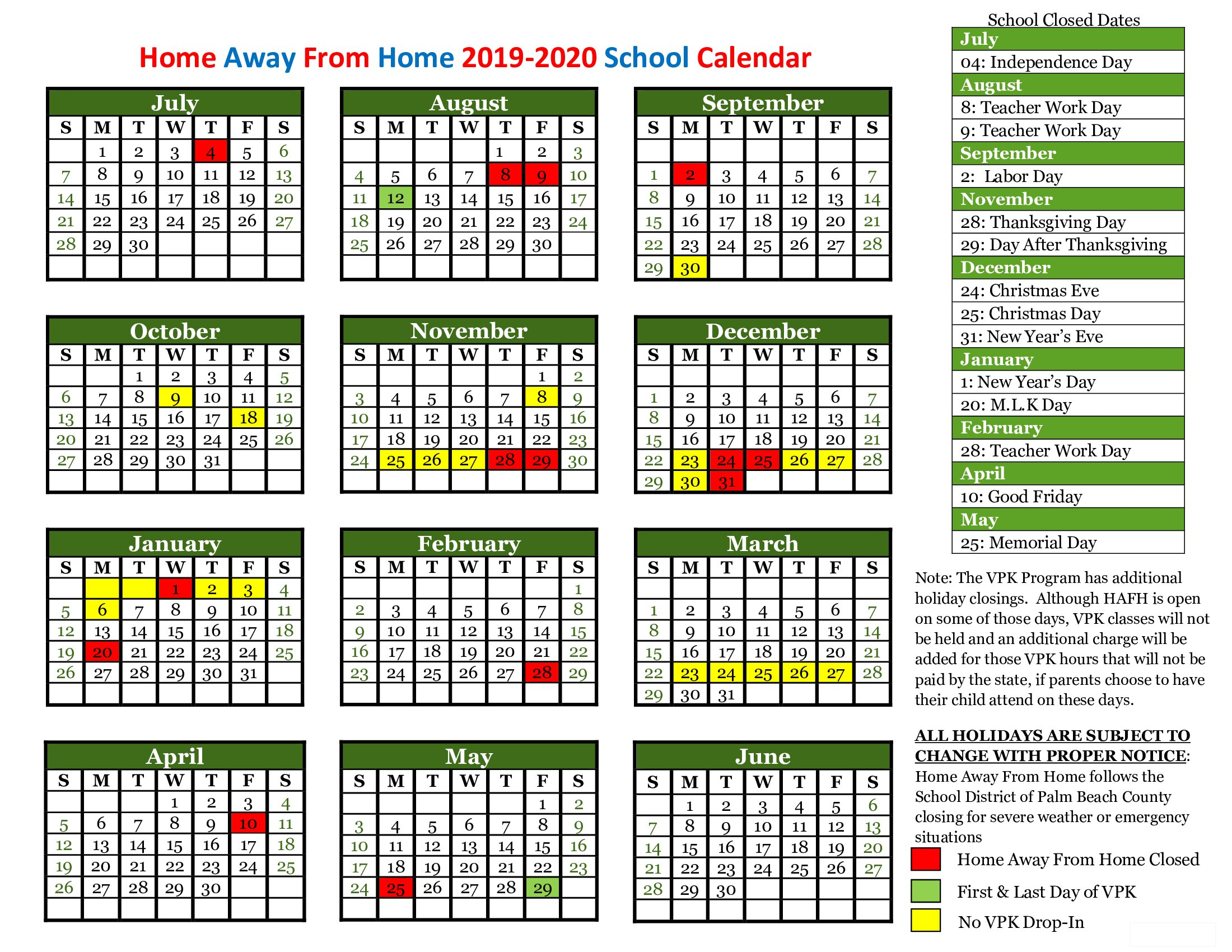 Child Care Holiday Schedule - View School Closings | Home throughout West Palm School Calendar