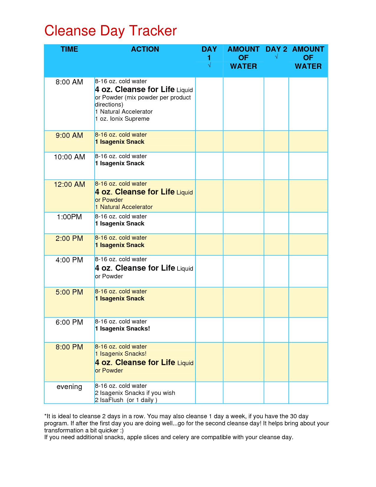Cleanse Day Tracker   Isagenix Cleanse, Isagenix Snacks Inside Isagenix Cleanse Day Schedule Printable