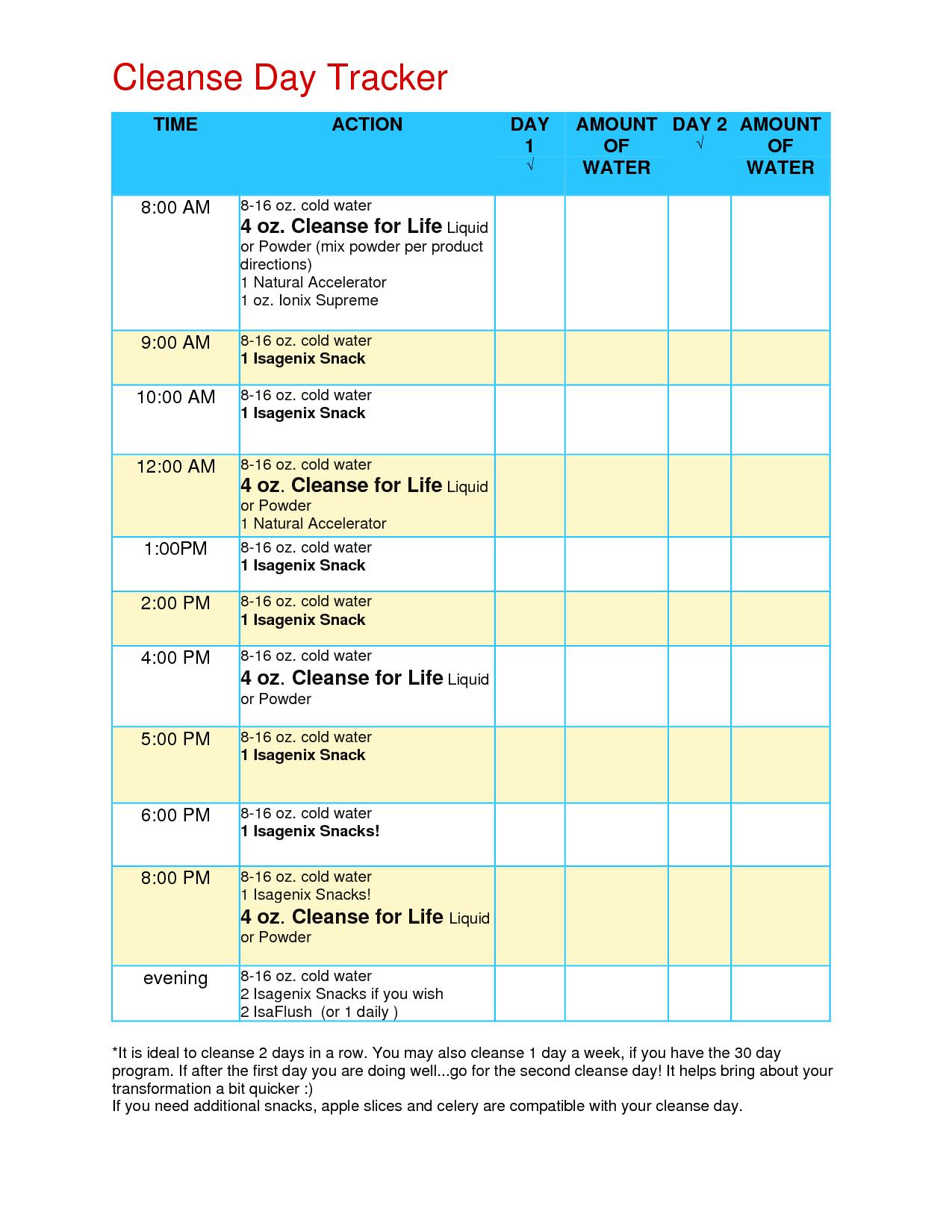 Cleanse Day Tracker   Isagenix Cleanse, Isagenix Snacks Throughout Isagenix Shake Day Schedule Printable