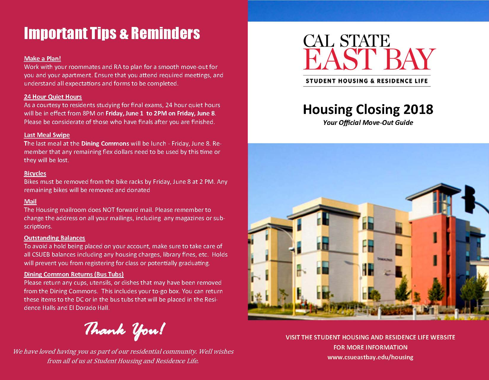 Closing Information Throughout Fall Break For Cal State Eat Bay