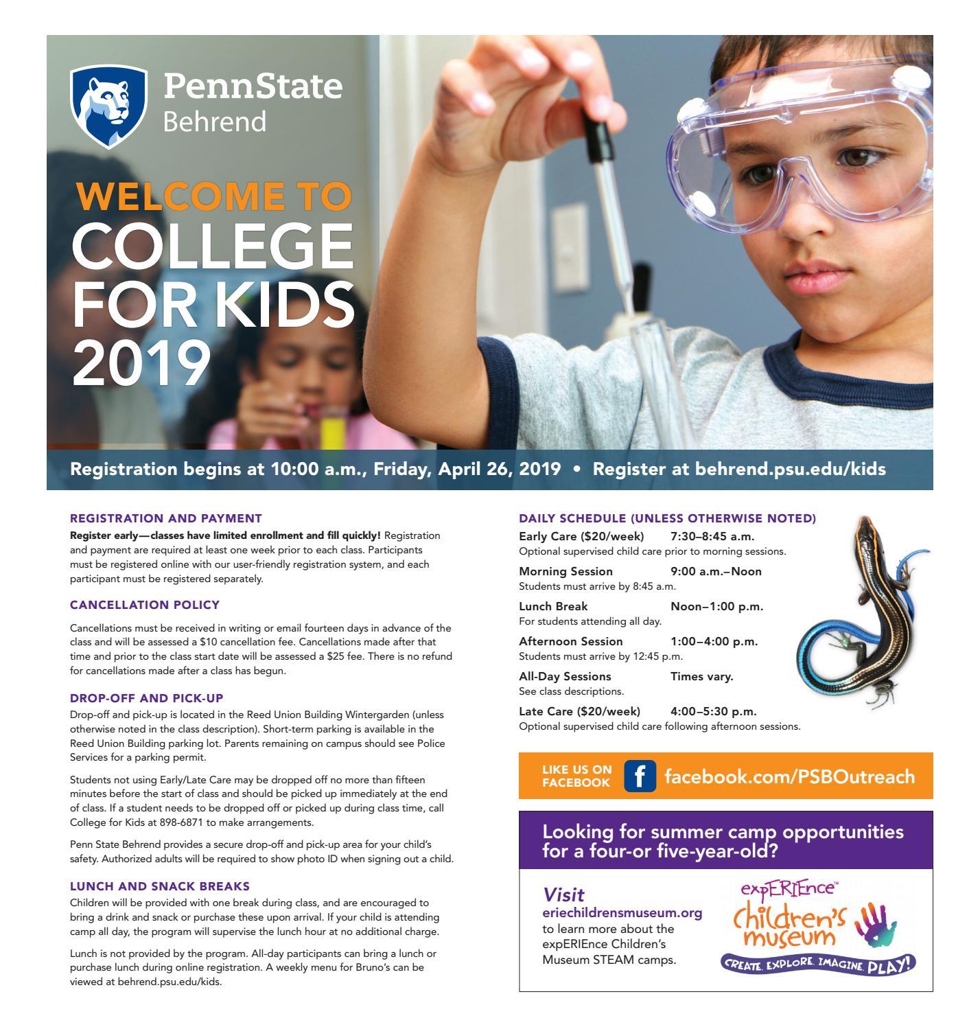 College For Kids 2019 Brochurepenn State Behrend – Issuu Throughout Behrend School Calendar