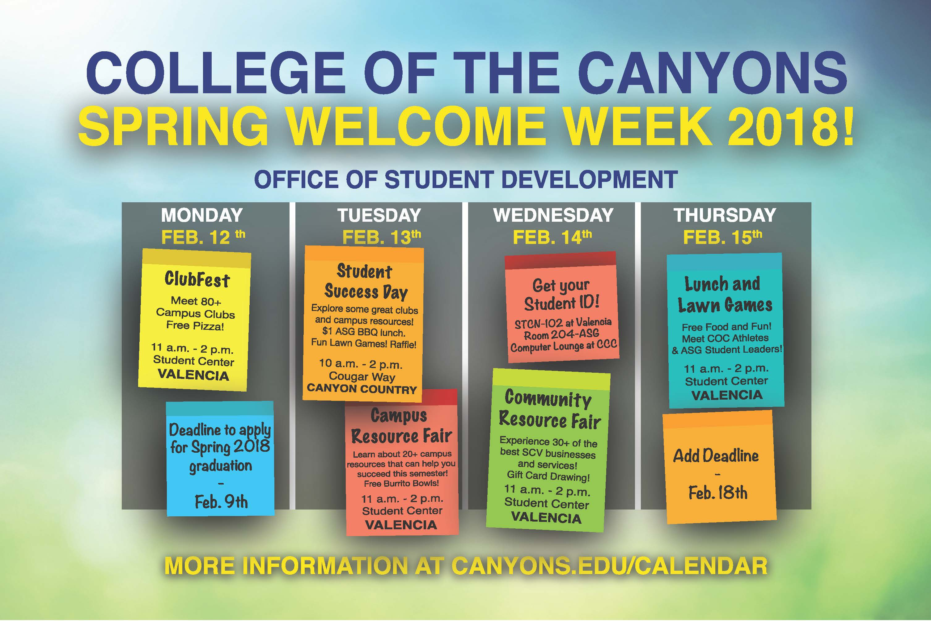 College Of The Canyons - Welcome Week - Campus Resource With Regard To When Does The Spring Semester Start At College Of The Canyons