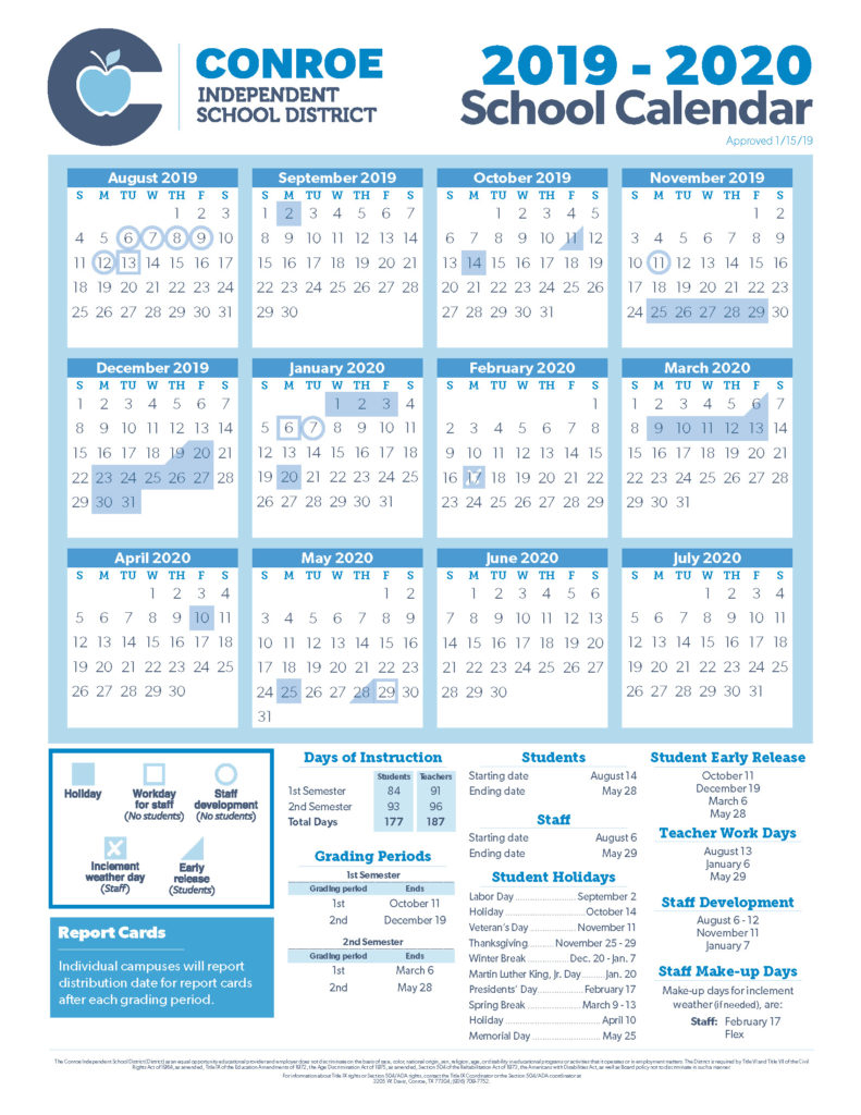 Conroe Isd Trustees Approve 19 20 School Calendar – Conroe Isd Throughout Martin County School District Calendar