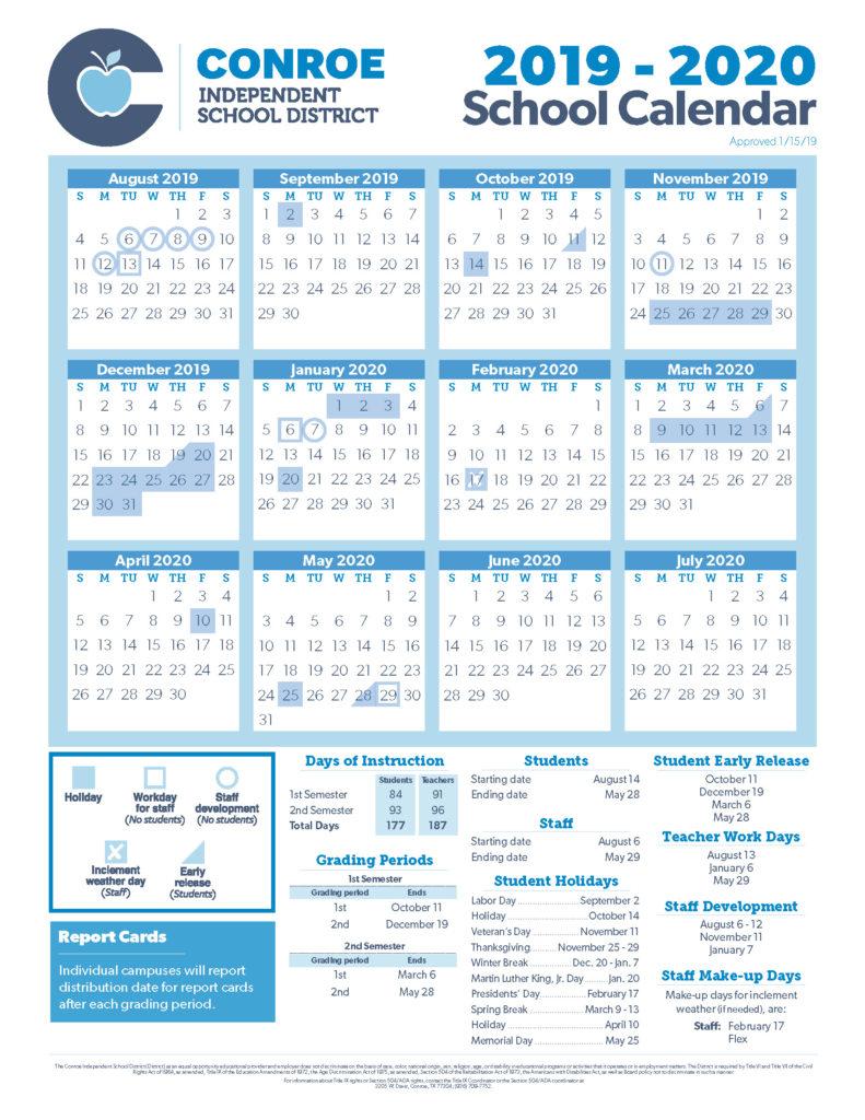 Conroe Isd Trustees Approve 19 20 School Calendar - Conroe Isd With Regard To Sam Houston Academic Calendar