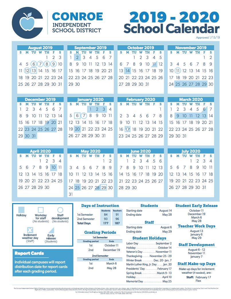 Conroe Isd Trustees Approve 2019 2020 School Calendar In New Caney School Calendar