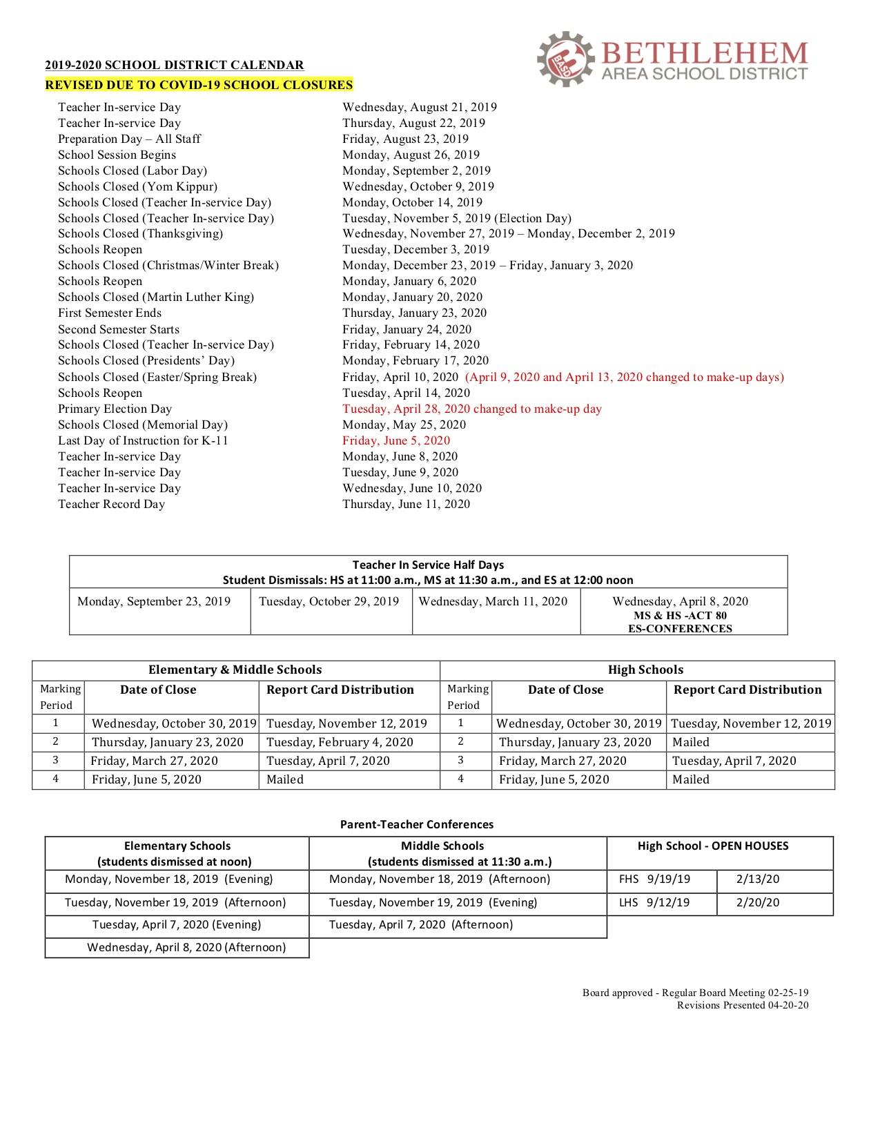 Covid 19 Response / Home Pertaining To Bethlehem Area School District Calendar 2021