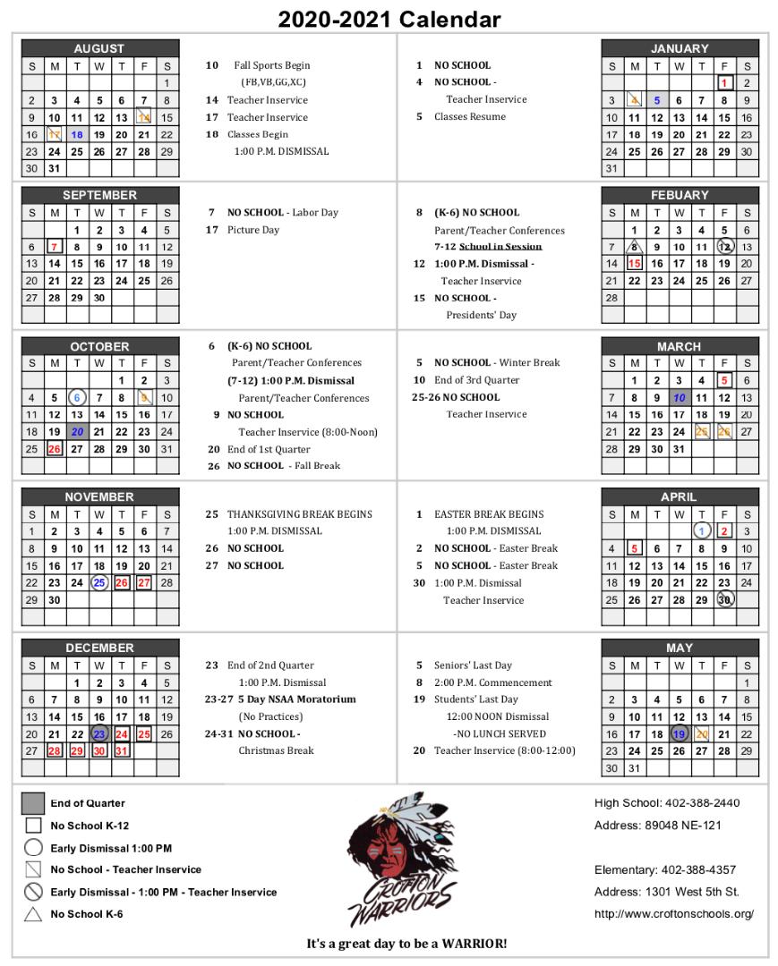 Crofton Community Schools - 2020-2021 Calendar within Santa Teresa High School Calendar 2021