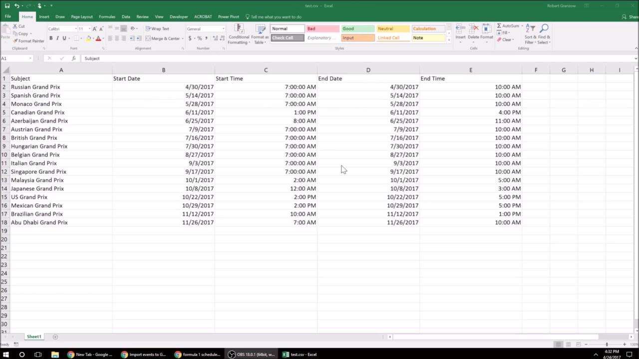 Csv File Import To Google Calendar With Convert Excel Spreadsheet To Calendar