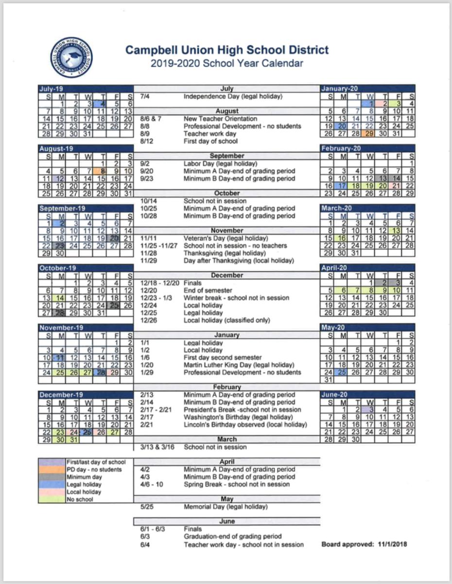 Cuhsd Academic Calendar 2019 20 – Campus Calendars – Del Mar Inside Gilroy Unified School District Calendar 2021
