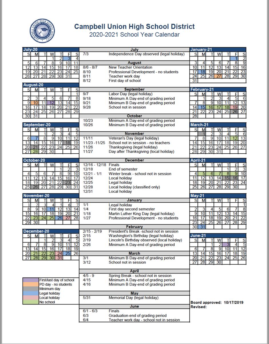 Cuhsd Academic Calendar 2020 21 & 2021 22 – Campus Calendars Intended For Gilroy Unified School District Calendar 2021