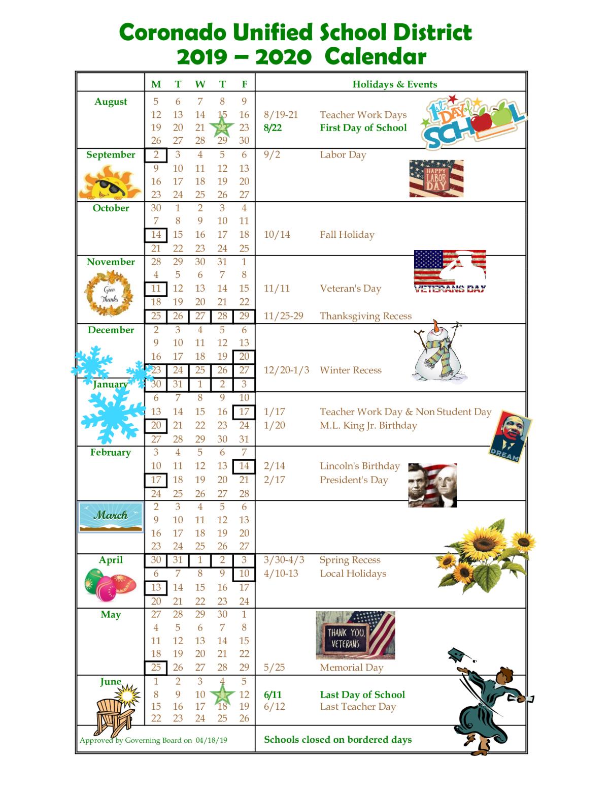 Cusd Calendar For 2019 2020 | Coronado Middle School With Regard To Oceanside Unified School District Calendar