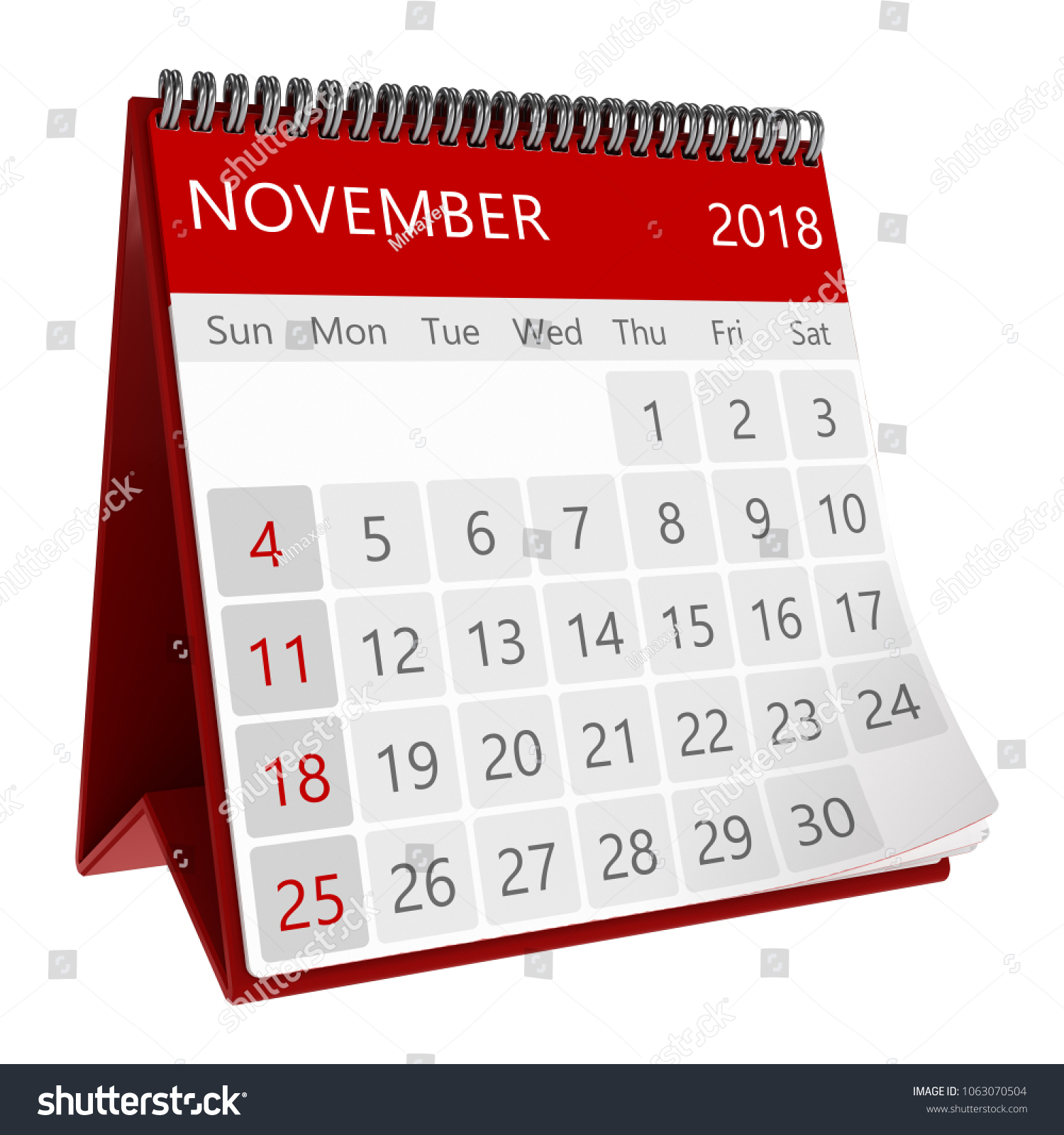 Стоковая Иллюстрация «3D Illustration Red Monthly Calendar For Sun Page 3 Calenders
