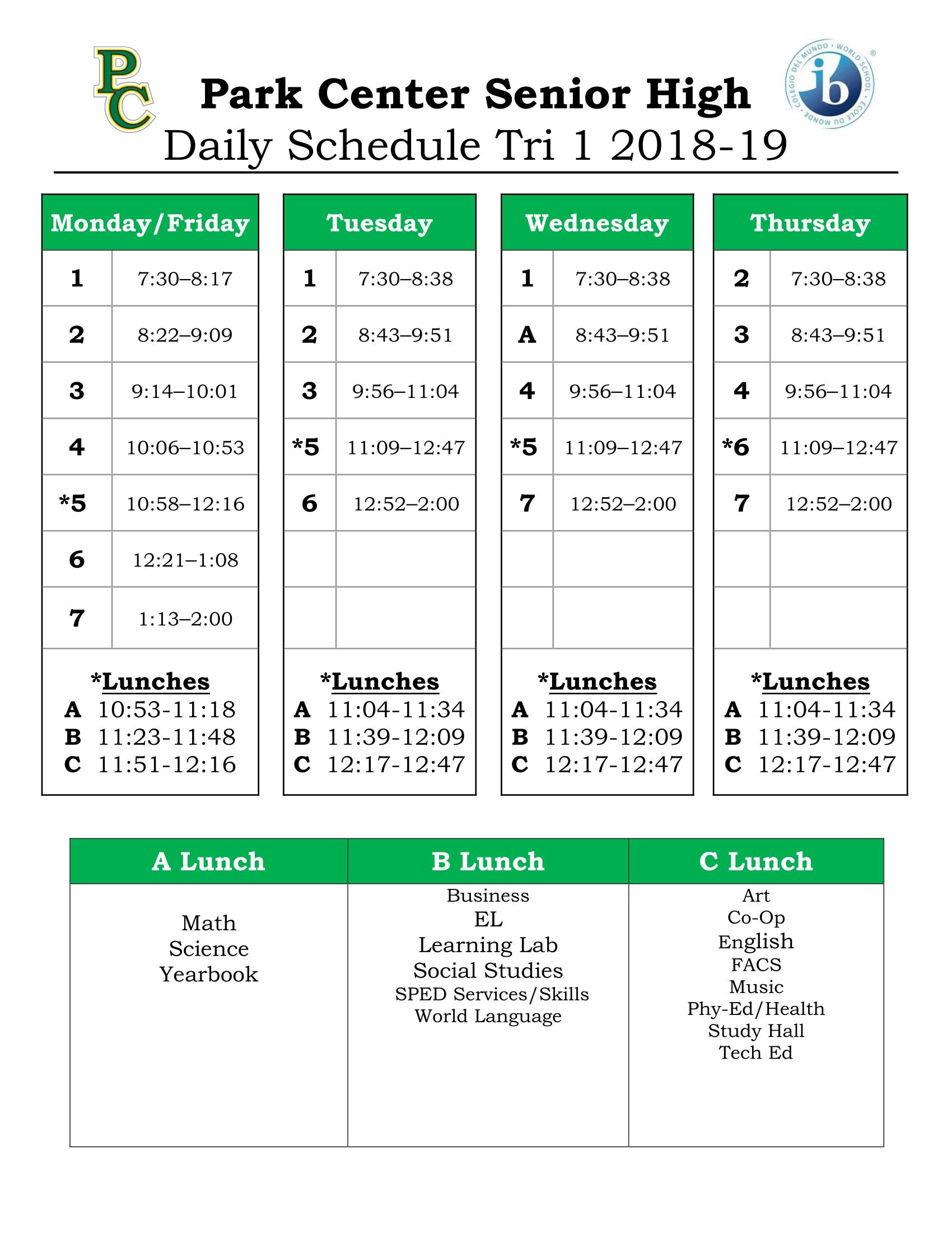Daily Schedule For Eden Prairie High School Calendar