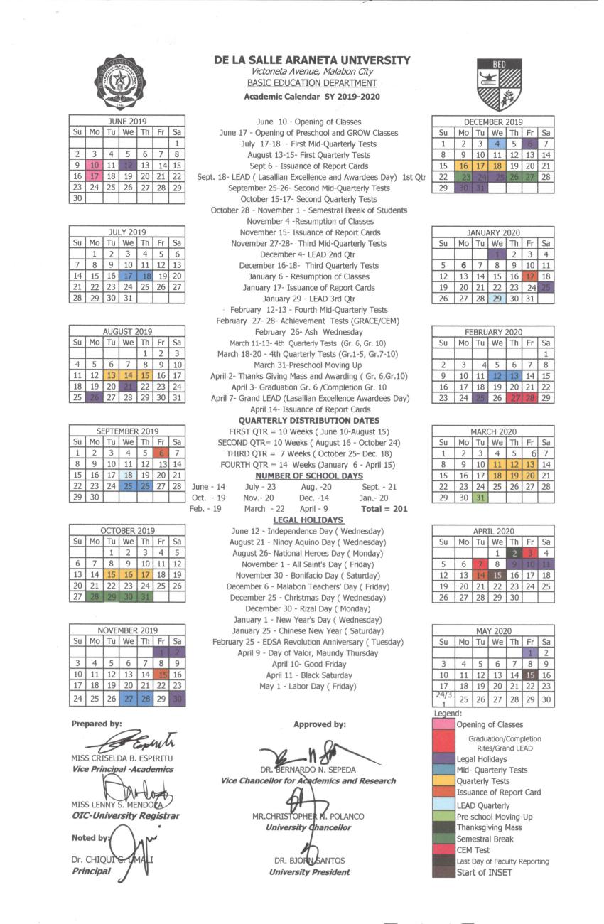 De La Salle Araneta Website | Calendar Within La Salle University Calander