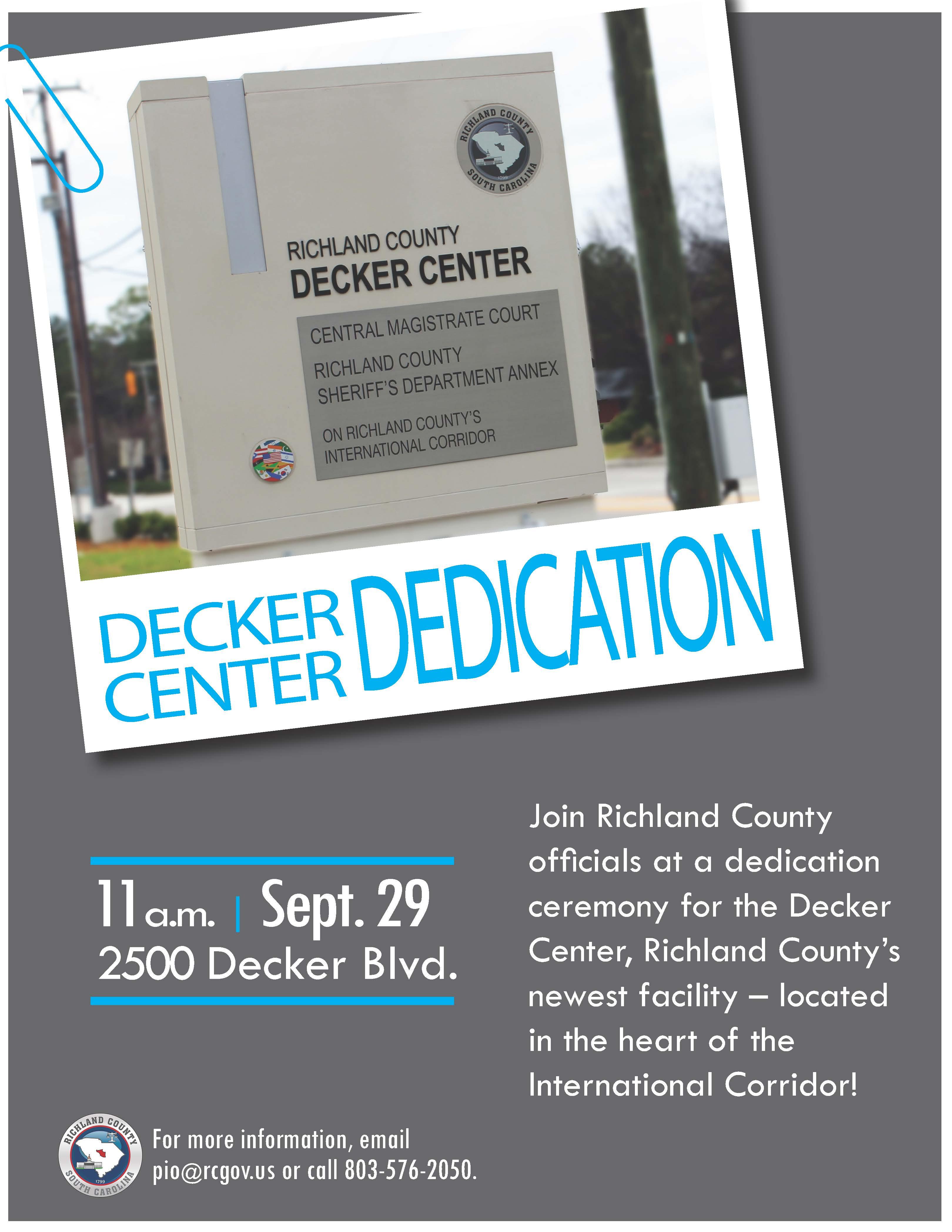 Decker Center Dedication Ceremony For Richland County Family Court Calendar