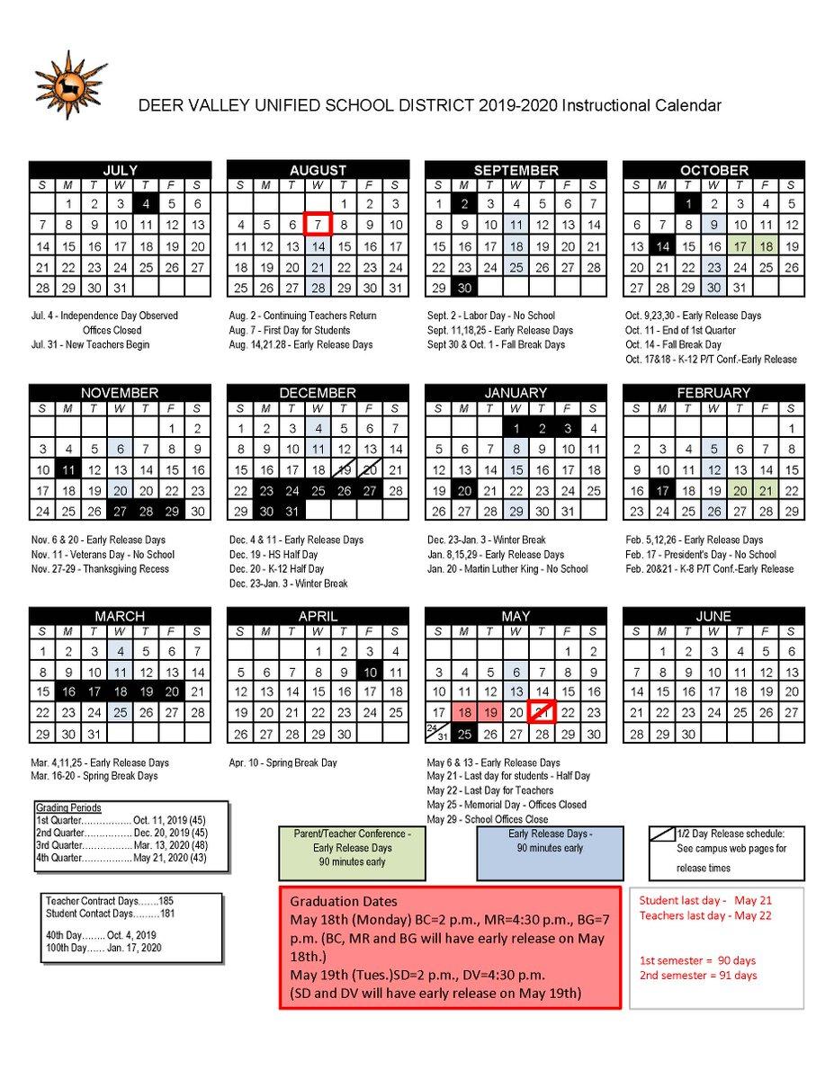 "Deer Valley Unified School District På Twitter: ""the 2019 within Deer Valley Unified School District Calendar"