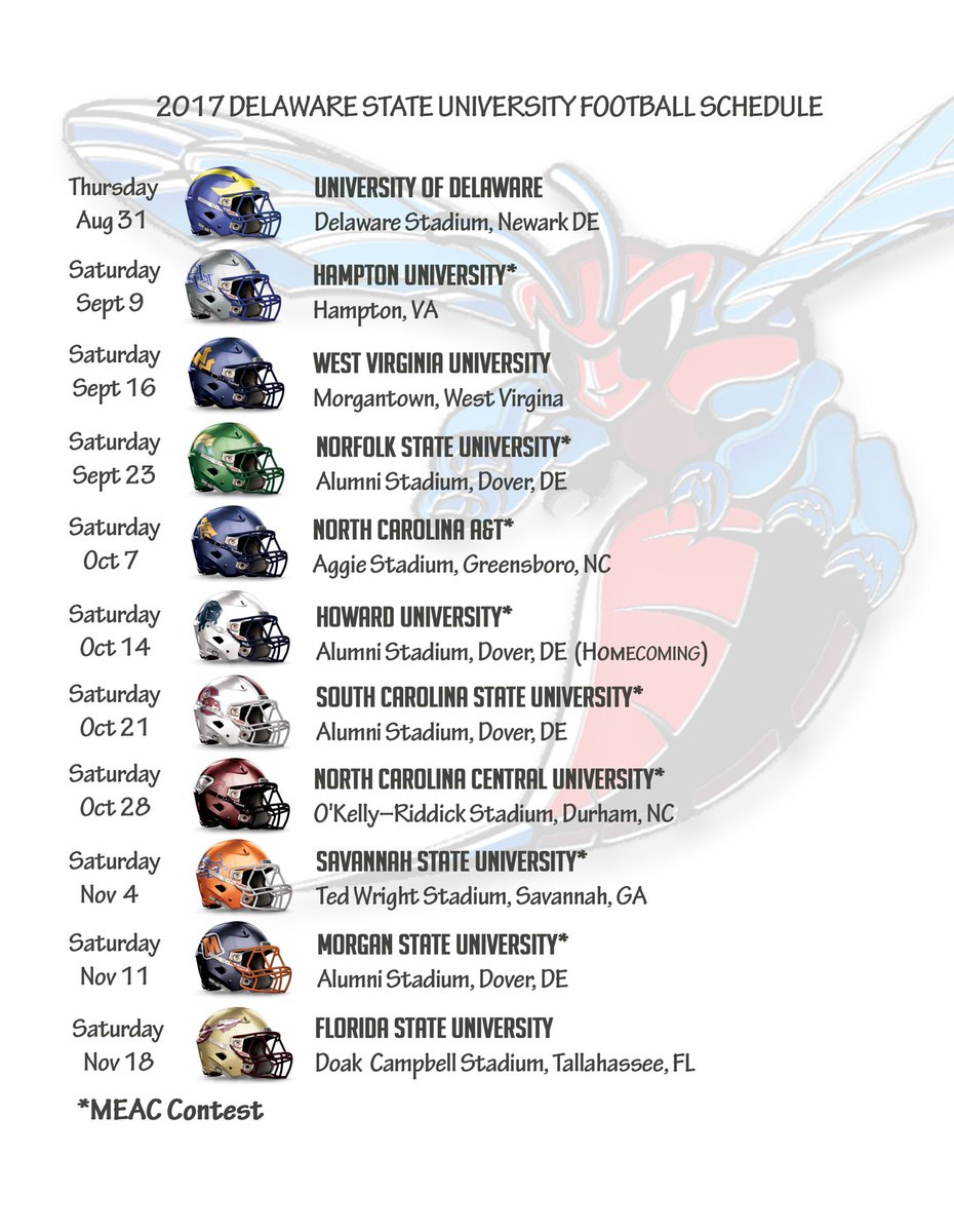 """Delaware State Fb On Twitter: """"the 2017 Football Schedule Regarding Delaware State University Holiday Schedule"""