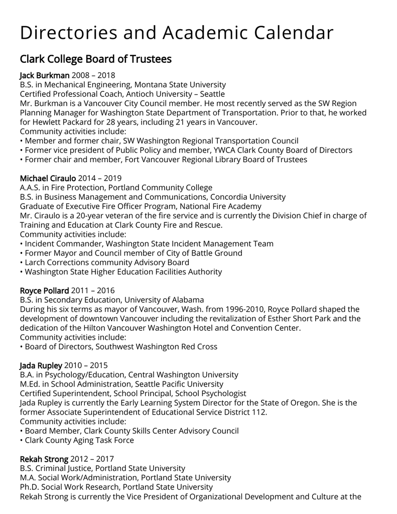 Directories And Academic Calendar Clark College Board Of in Spokane Community Colleges Academic Calendar