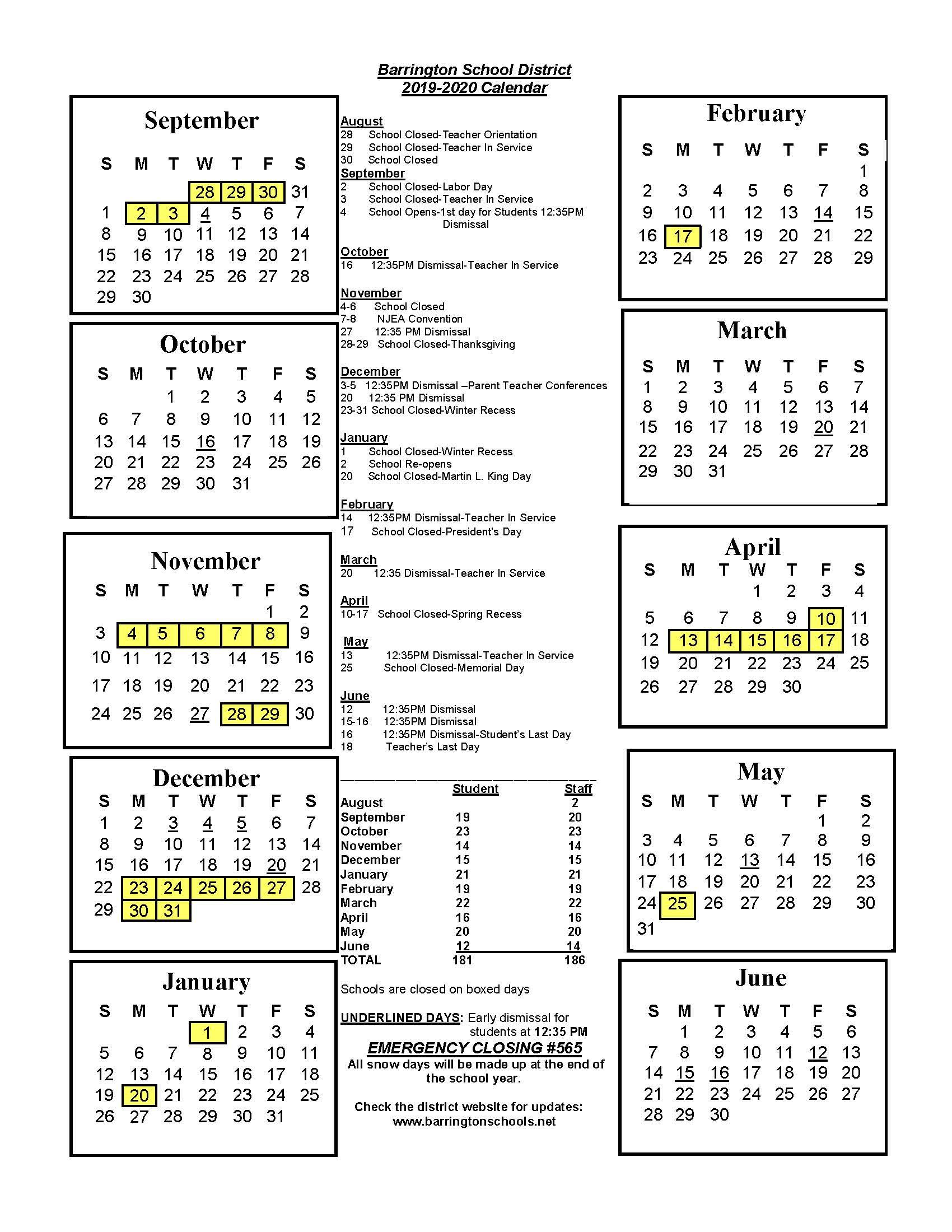 District Calendar - Barrington School District intended for Boyertown School Calander
