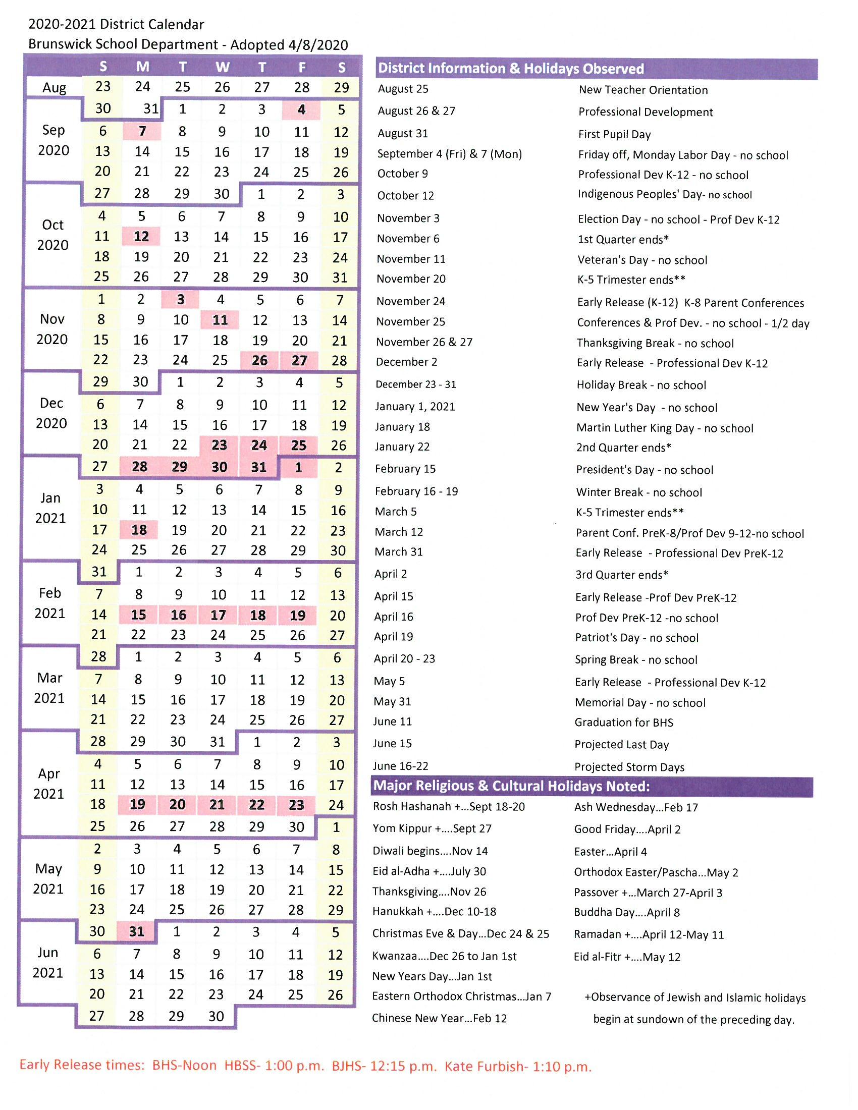 District Calendar - Brunswick School Department inside New Brunswick Public Schools Calendar