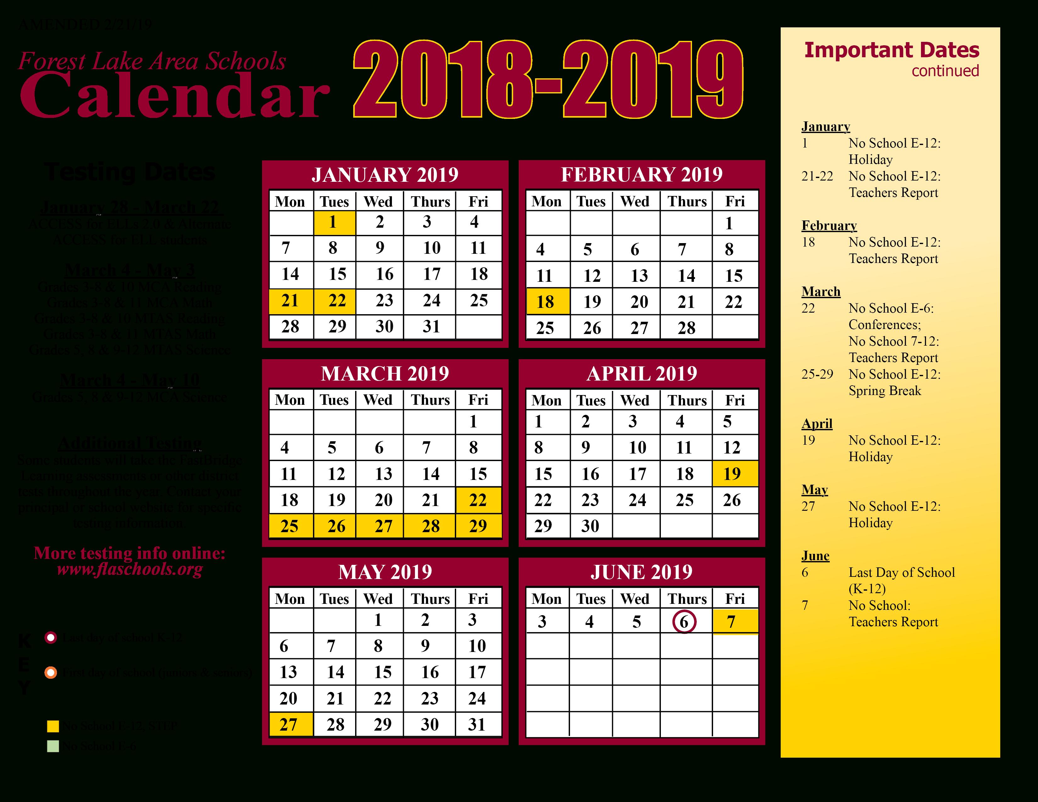 District Calendar / Home With West Orange School District Printale Academic Schoool Schedule