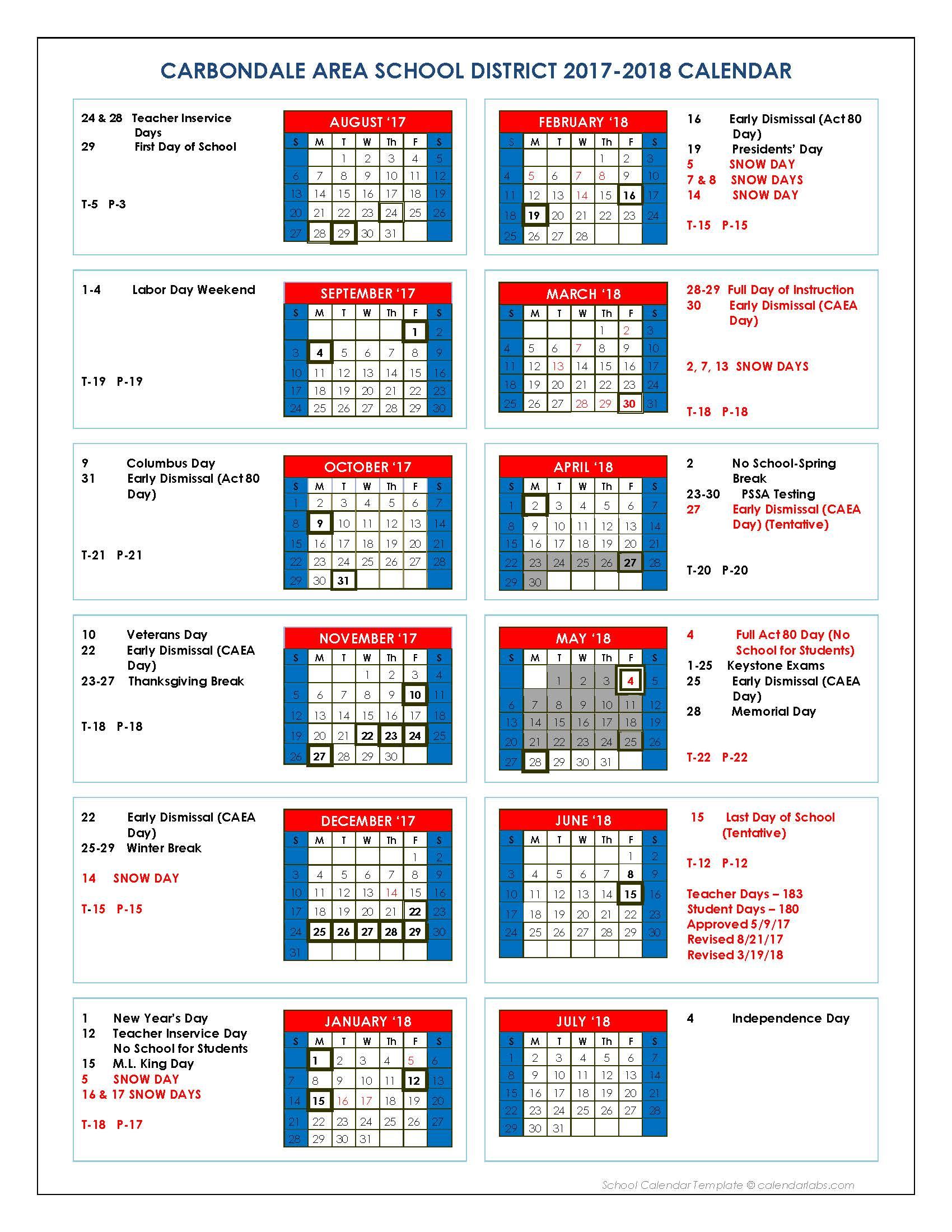 District Calendar Revised | Carbondale Area School District inside Stroudsburg Public School Calendar