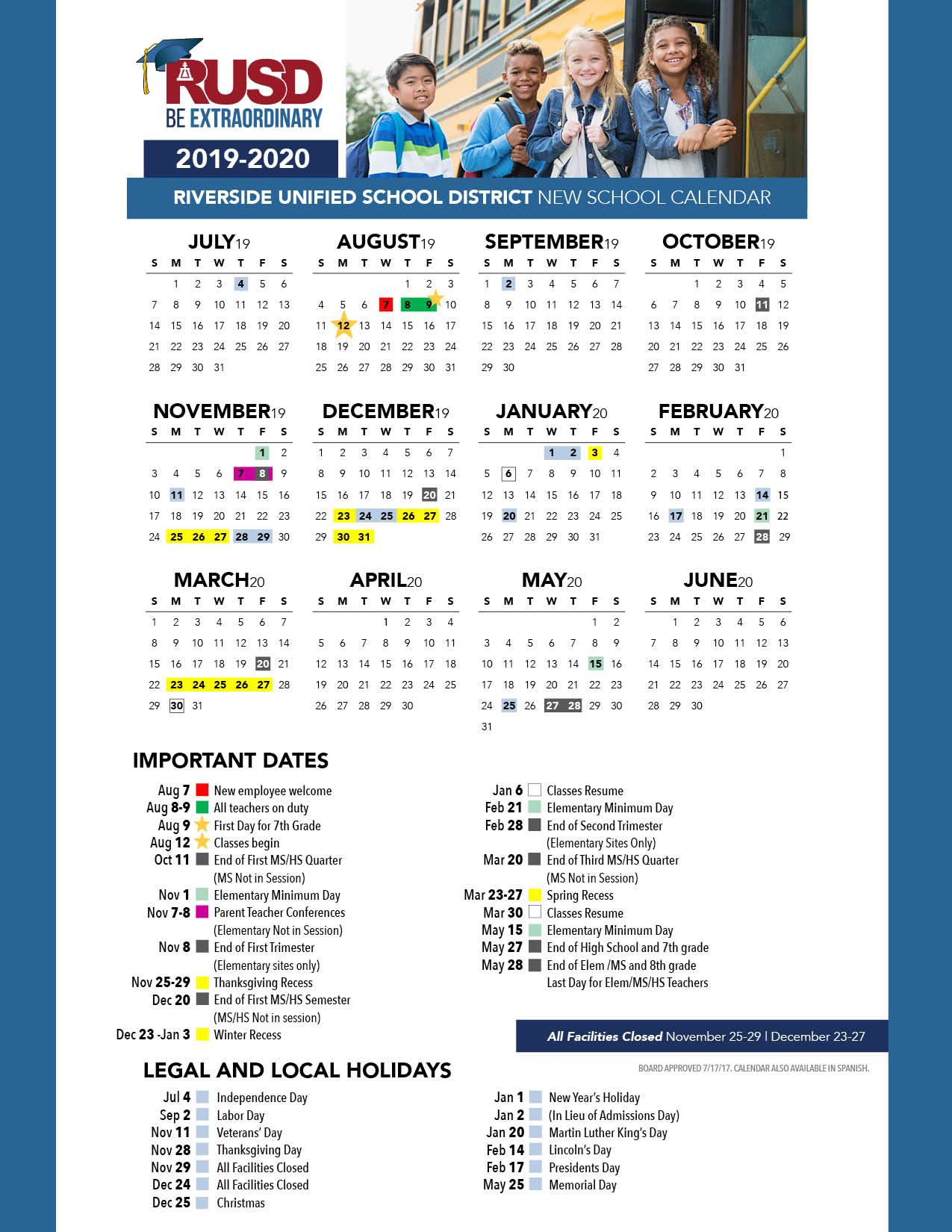 District Calendar – Riverside Unified School District Intended For Oceanside Unified School District Calendar