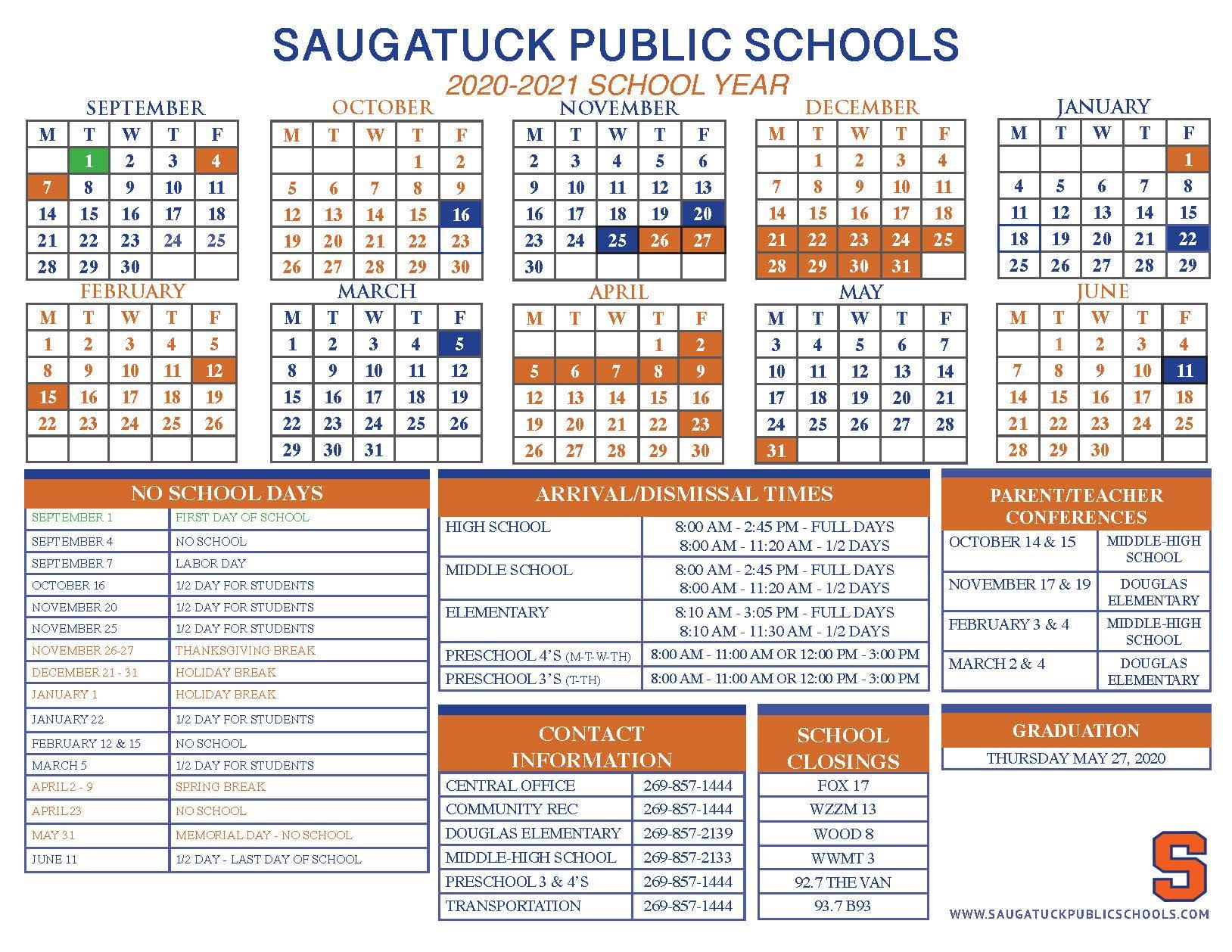 District Calendar – Saugatuck Public Schools Pertaining To Grand Haven High School Clendar