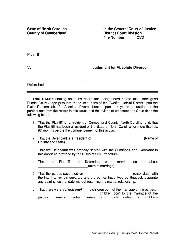 Divorce In Nc - Fill Online, Printable, Fillable, Blank For Nc Court Calendar By Defendant