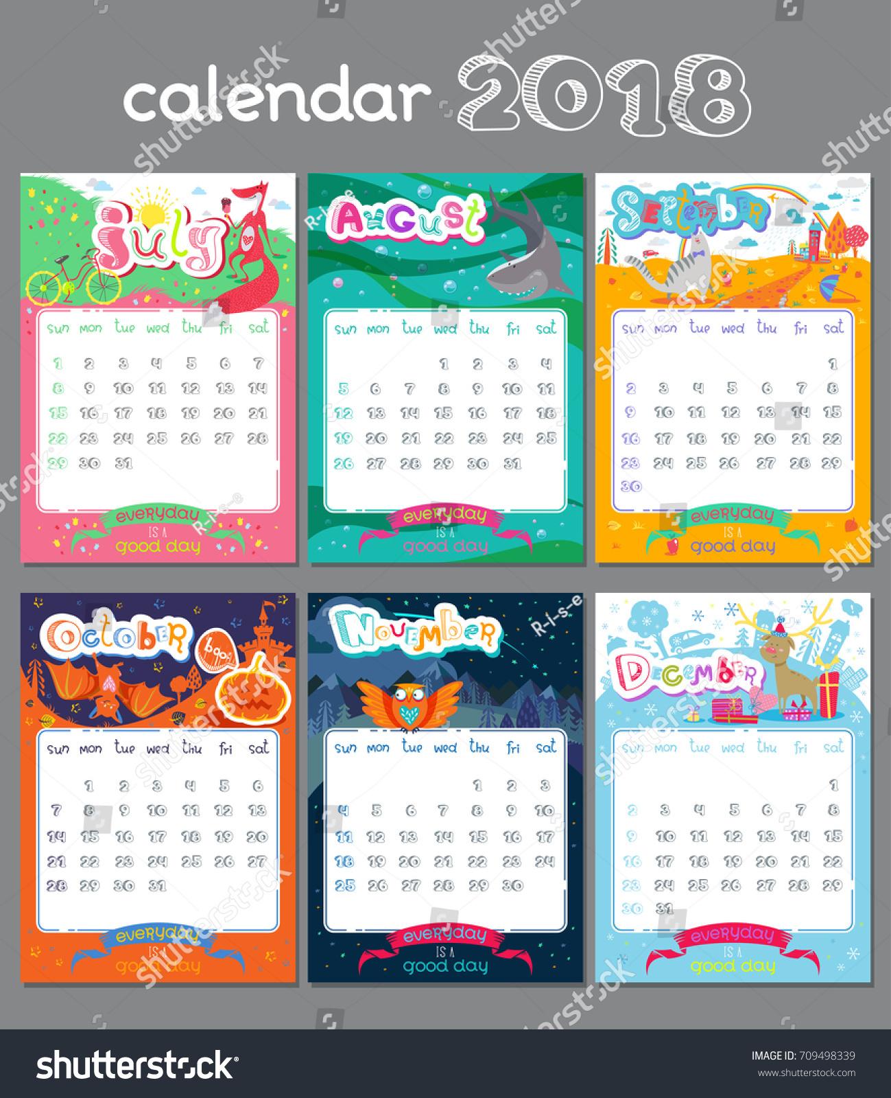 Doodle Calendar Design 2018 Year Vector Stock Vector With Regard To Everyday Is A Holiday Calendar