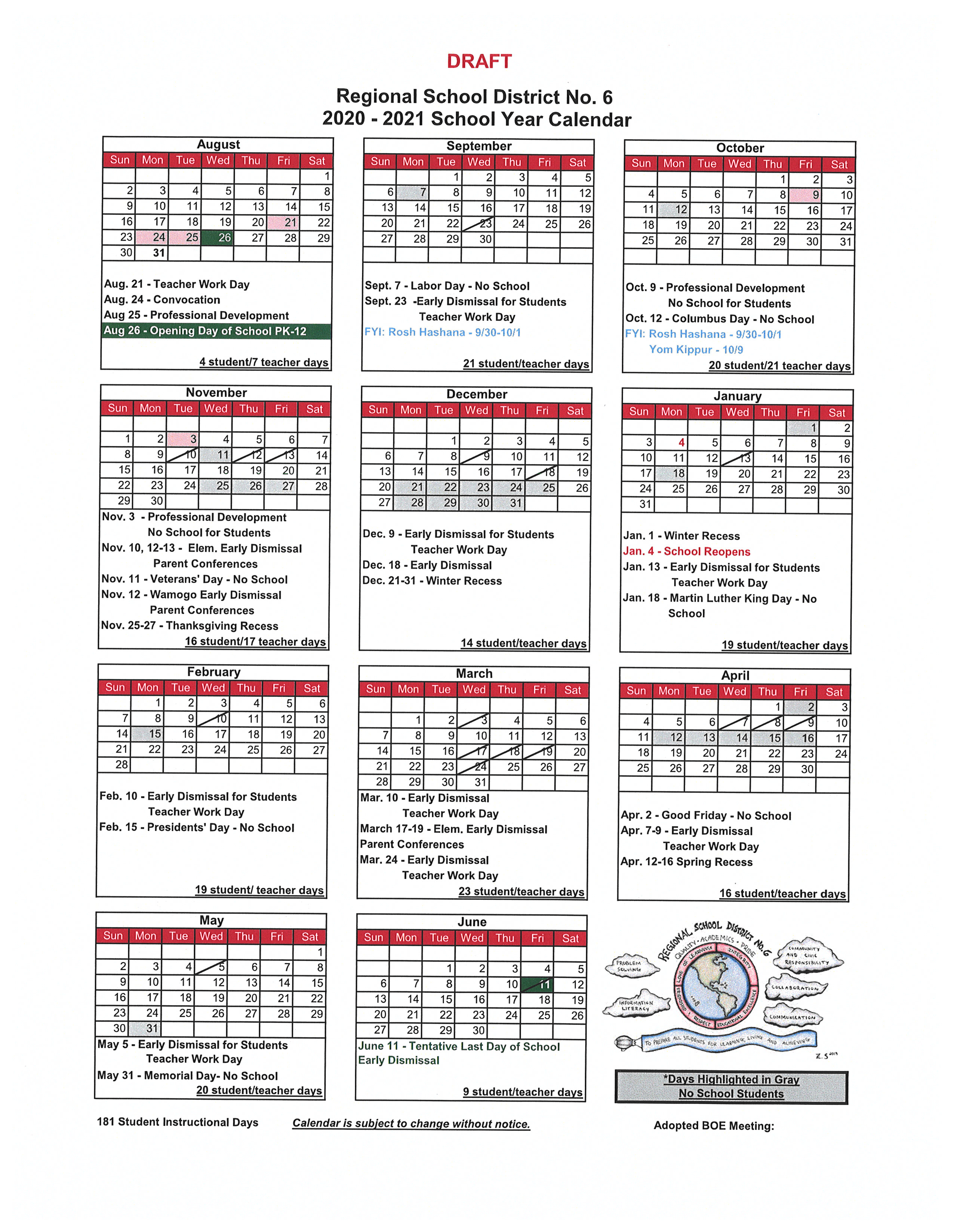 Draft 2020 2021 School Calendar - Regional School District No. 6 Inside Sunny Hills High School Calendar 2021