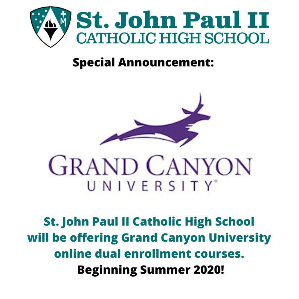 Dual Enrollment: Grand Canyon University — St. John Paul Ii regarding Grand Canyon University Summer School Schedule