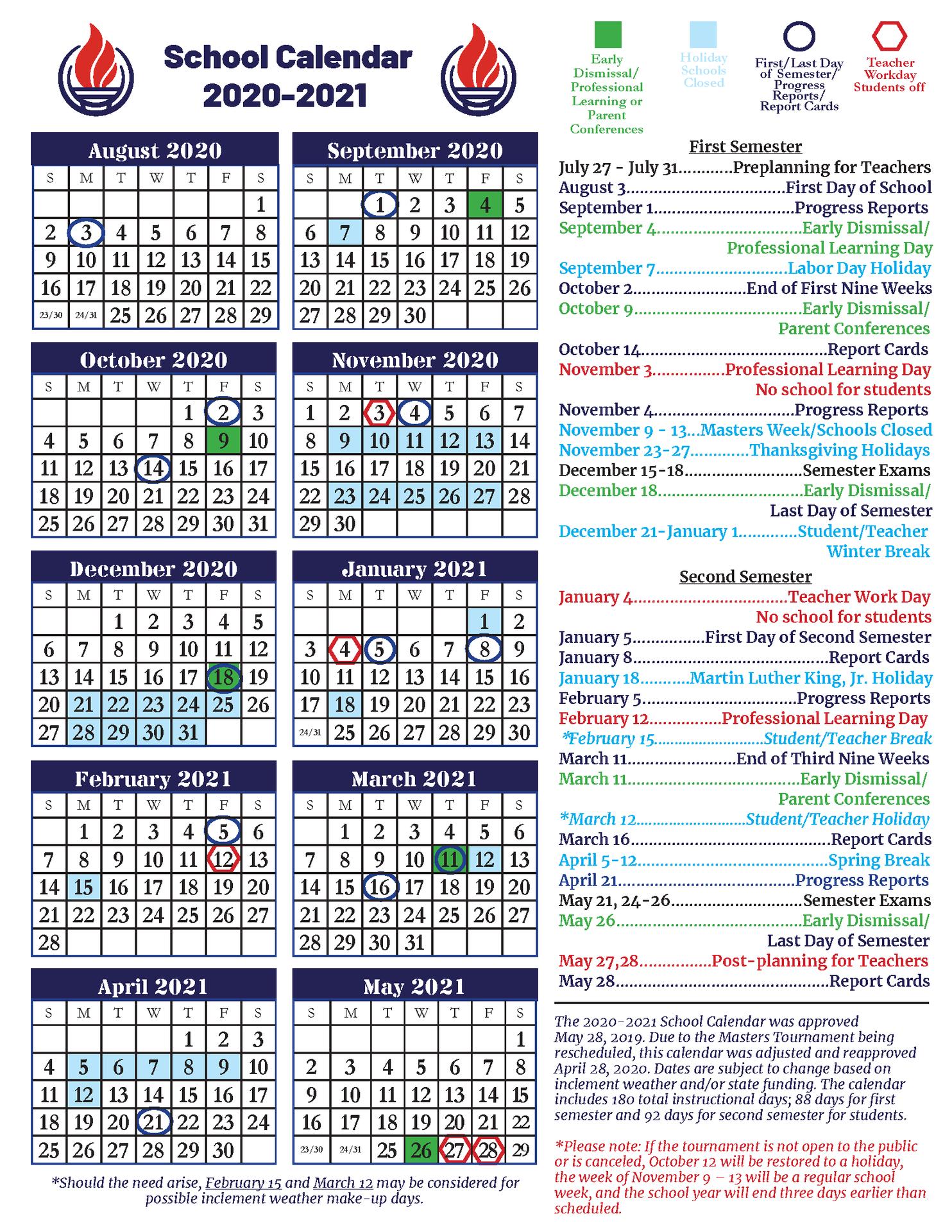 End Of School Year Information – Ccsd Coronavirus Response Throughout Aiken County School Calendar