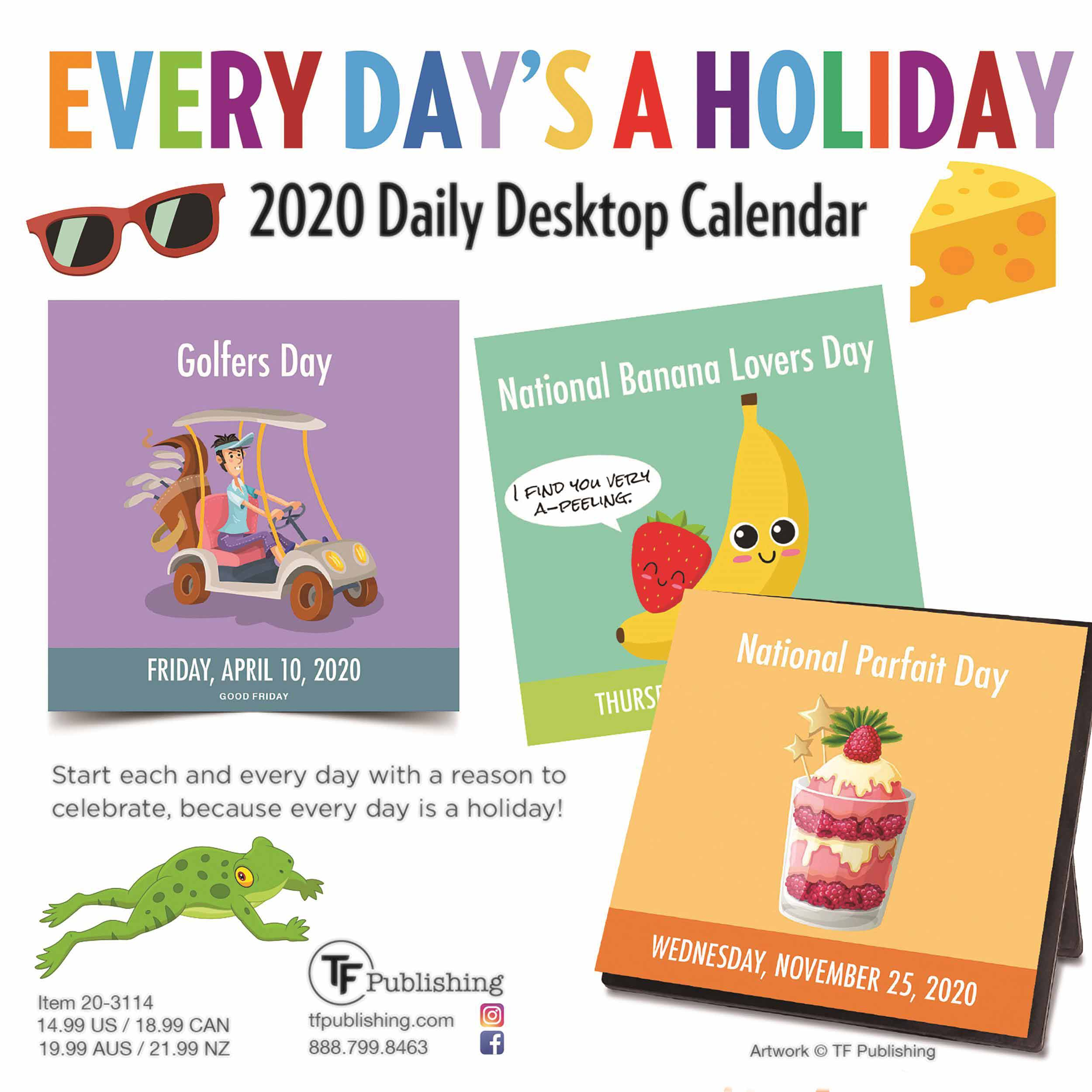 Every Day's A Holiday Desk Calendar 2020 At Calendar Club In Everydays A Holiday Calendar