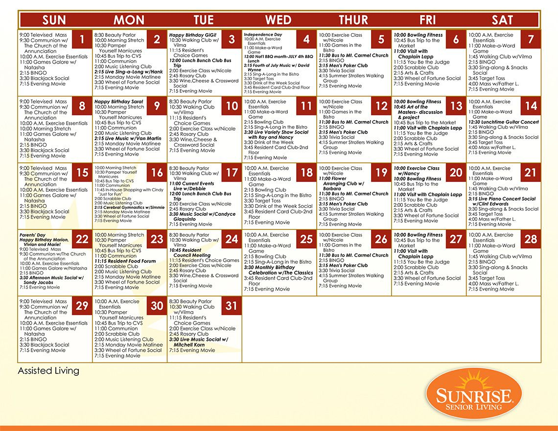 Example Assisted Living Calendar From Sunrise Senior Living Within Asiisted Living Home Monthly Cactivity Calendar