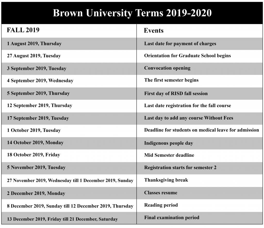 😄brown University Academic Calendar 2020 2021😄 Inside University Of Rhode Island 2021 2020 Calendar