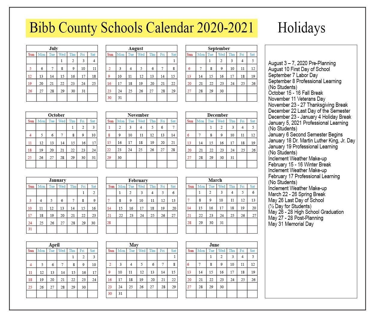 😊bibb County Schools Calendar 2020 2021😊 Inside Georgia State University Calendar 2021 2020