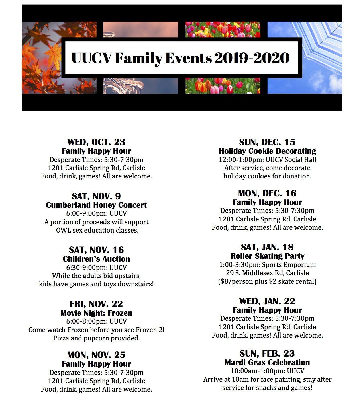 Family Event Calendar 2019 2020 - Unitarian Universalists Of Throughout Cumberland Valley School District Calendar