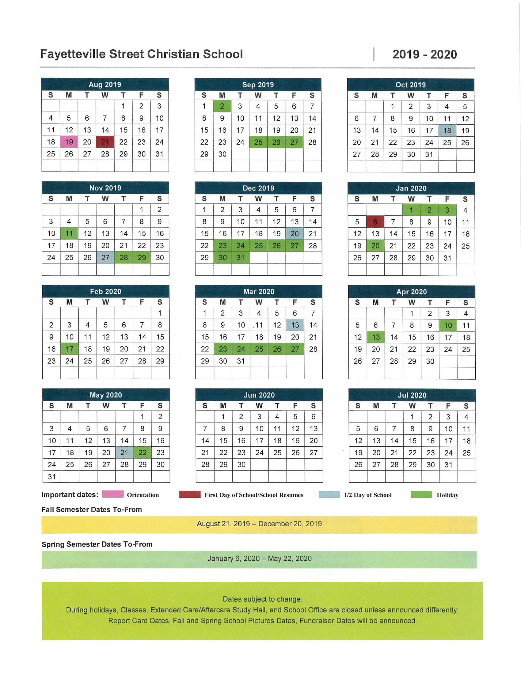 Fayetteville Street Christian School   Asheboro, Nc – School Regarding Moore County Nc School Calendar