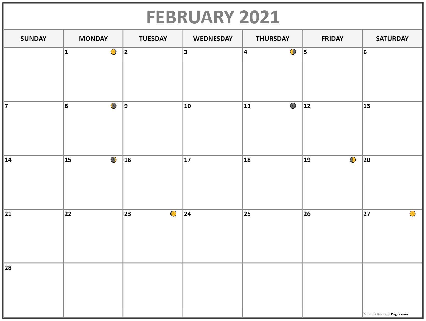 February 2021 Lunar Calendar   Moon Phase Calendar Inside Moon Calendar 2021 Name And Date For Kids