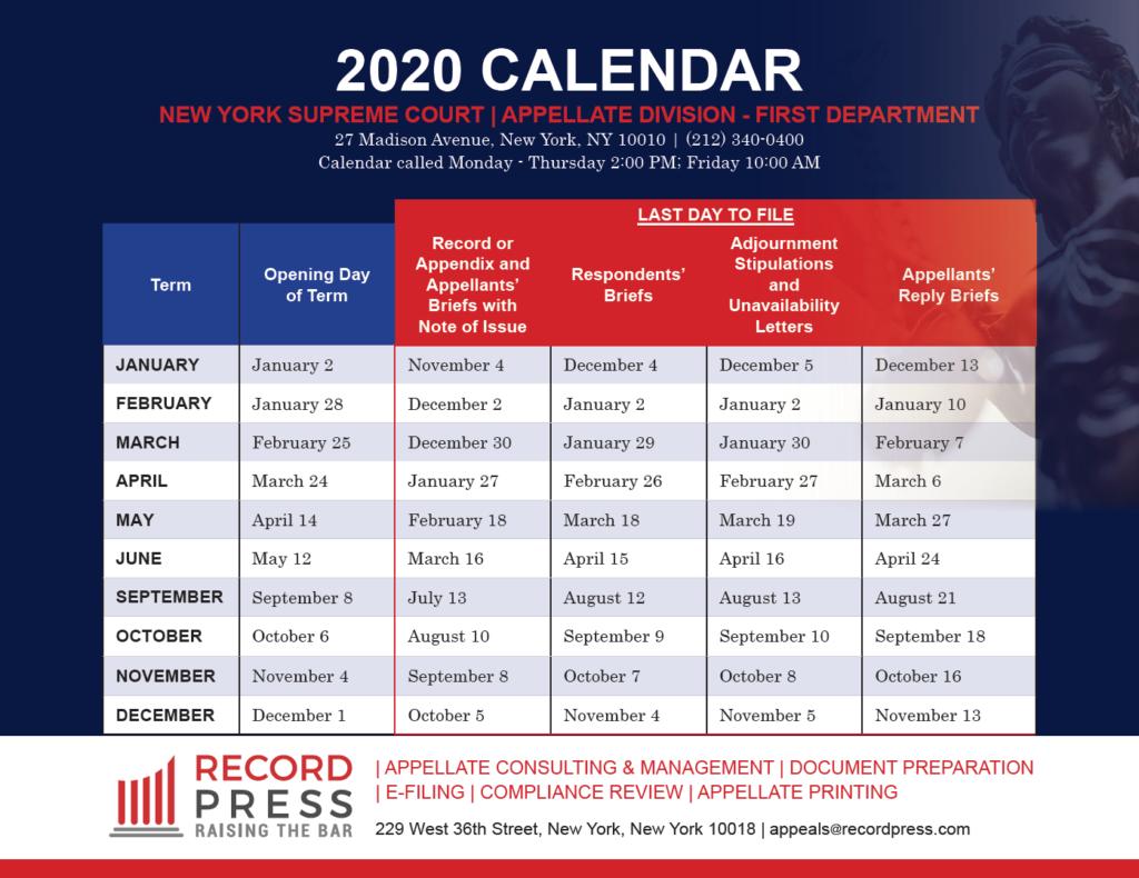 First Department 2020 Calendar - Record Press with Appellate Divisiohjn Seconf Dept Calendar