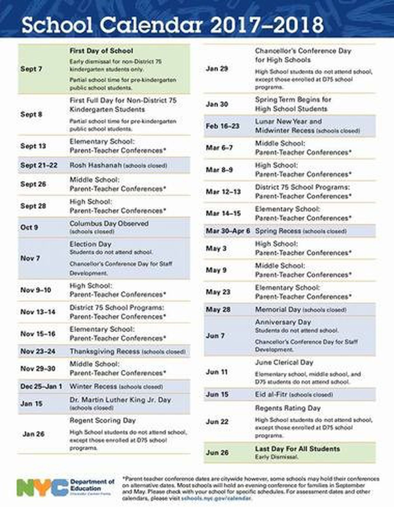First Look: Nyc Public School Calendar For 2017 2018 Intended For Board Of Education Calendar Nyc