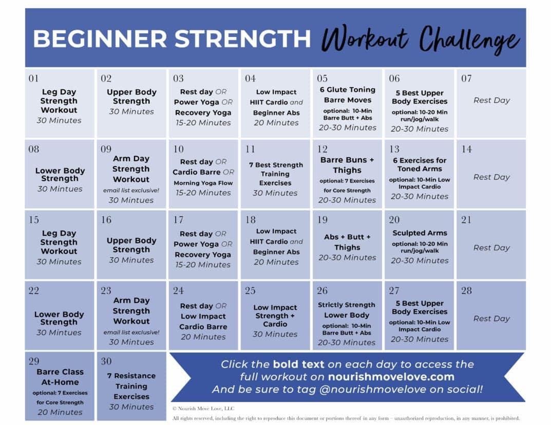 Fitness Challenge: 30 Day Beginner Workout Plan   Nourish Regarding 30 Days Fitness Calendar