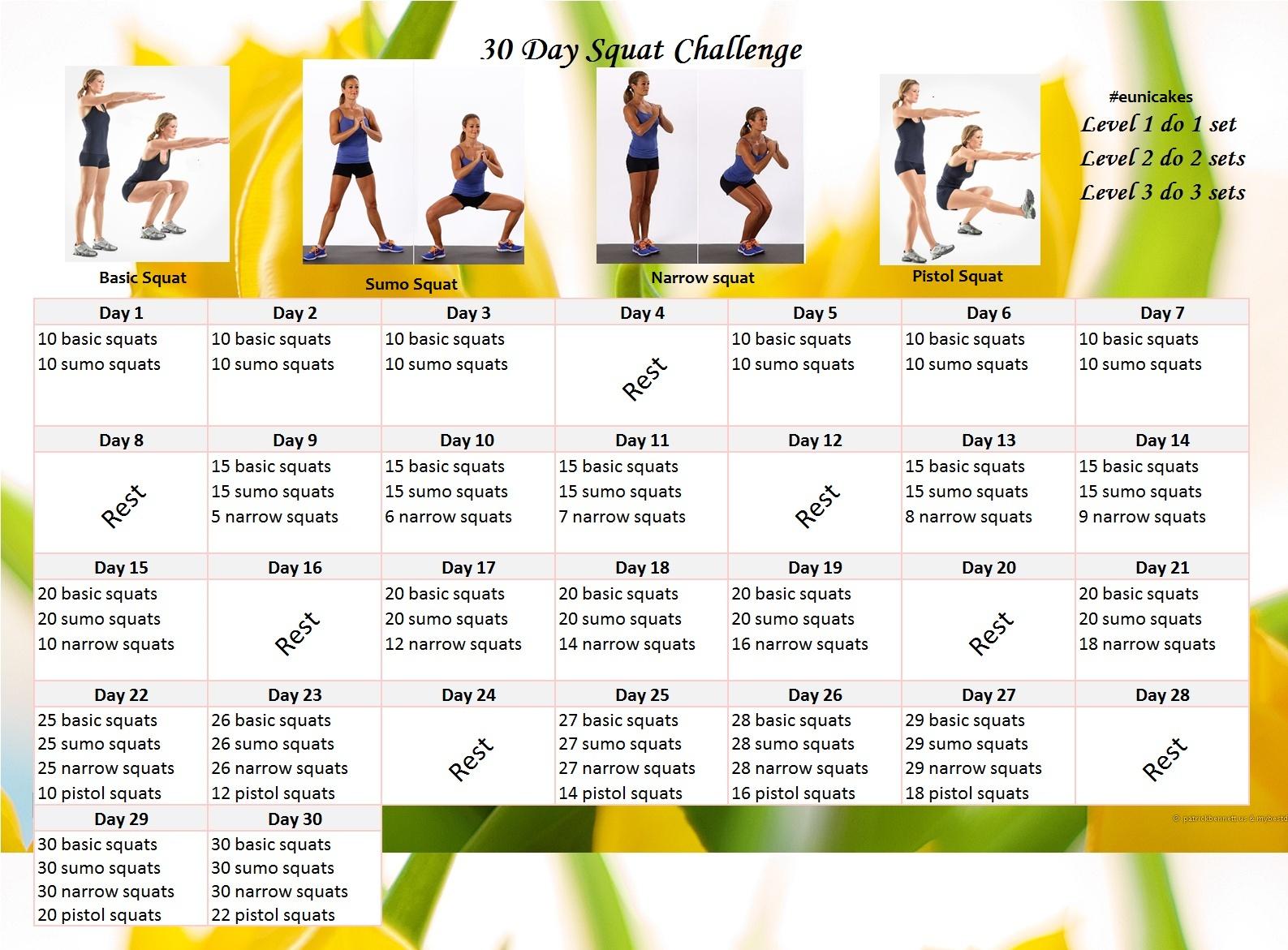Fitness Challenge: 30 Day Squat Calendar Challenge   Eunicakes With 30 Day Squat Challenge Schedule Calendar