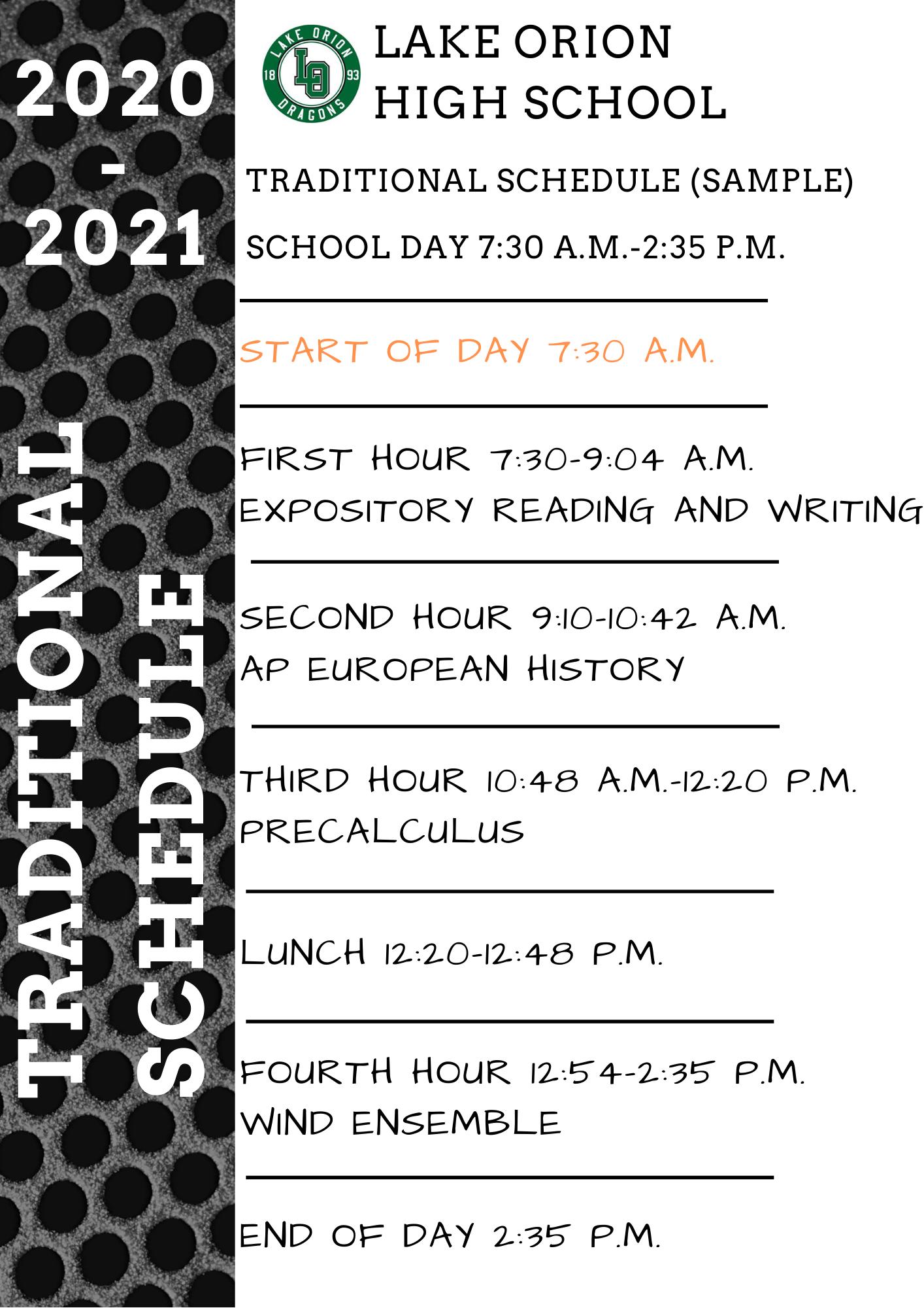 Flexible Schedule Option - Lake Orion Community Schools with regard to Lake Orion School Calendar 2021