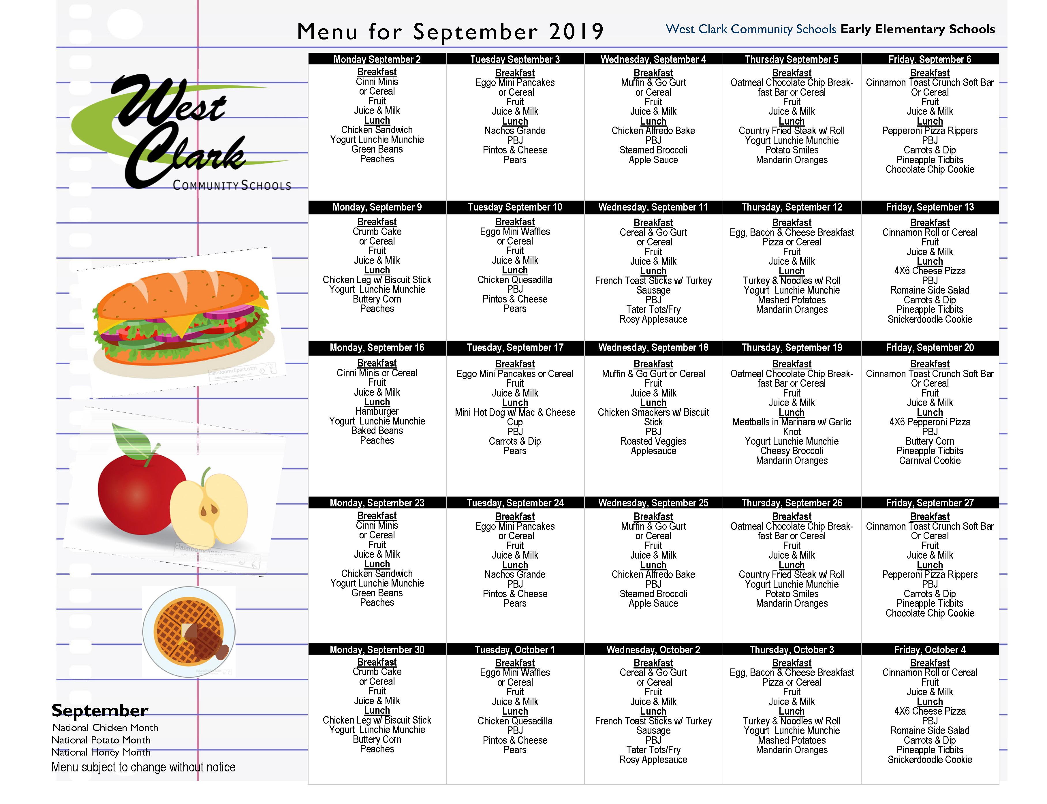 Food Menus – West Clark Community Schools intended for West Clark Community School Calendar