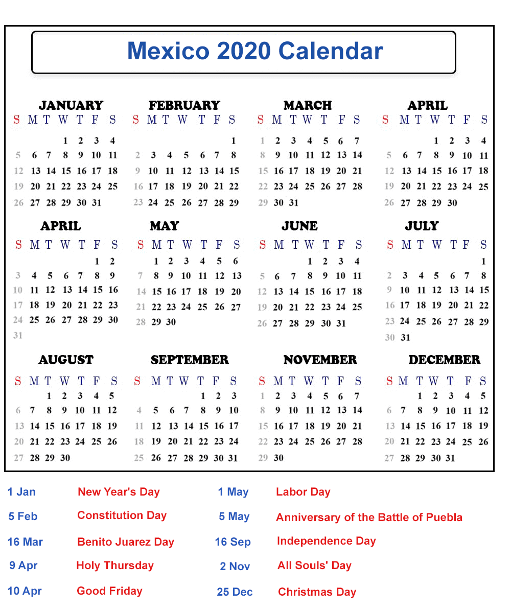 Free 2020 Mexico Printable Calendar With Public Holidays Intended For Mexican Calendar With Names