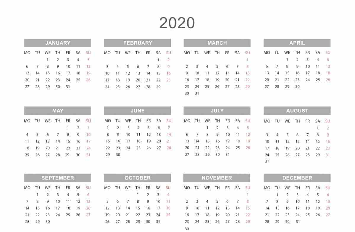 Free 2020 One Page Calendar Printable Download For 12 Mo Calendar Template One Page No Dates