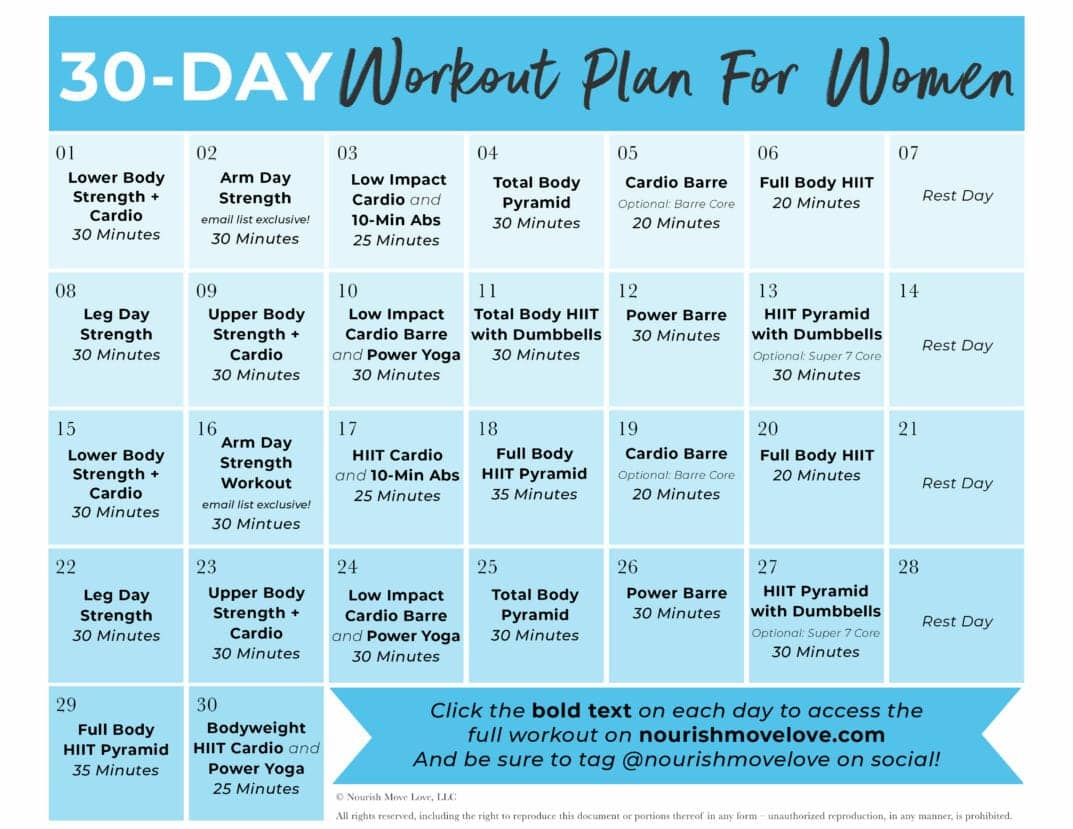 Free 30 Day Home Workout Plan   Nourish Move Love Throughout 30 Days Fitness Calendar
